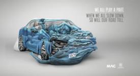 【令人驚訝的平面廣告:人體拼圖之撞毀的汽車】