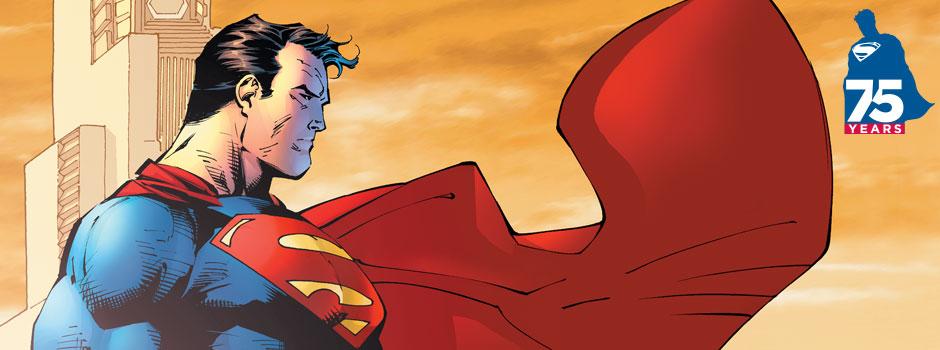 "superman 75 logo 1 漫画商推新标志纪念""超人""诞生75周年"