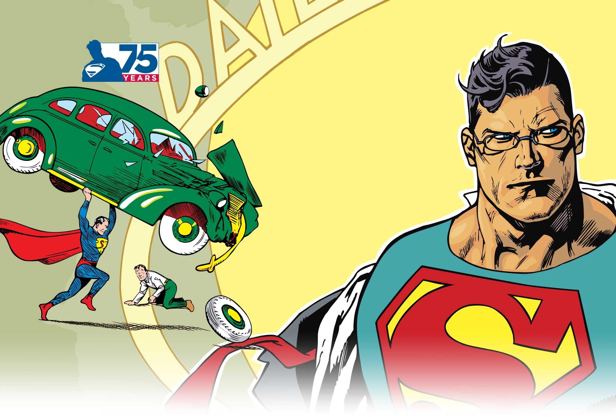 "superman 75 logo 2 漫画商推新标志纪念""超人""诞生75周年"