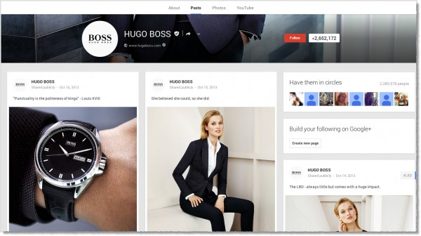 Hugo-Boss-Google+-page