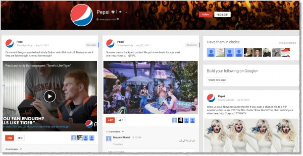 Pepsi-Google+-page
