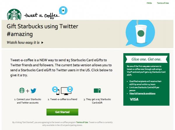 """星巴克與Twitter合作,利用""""更新近況""""請好友喝咖啡不再是夢想!"""