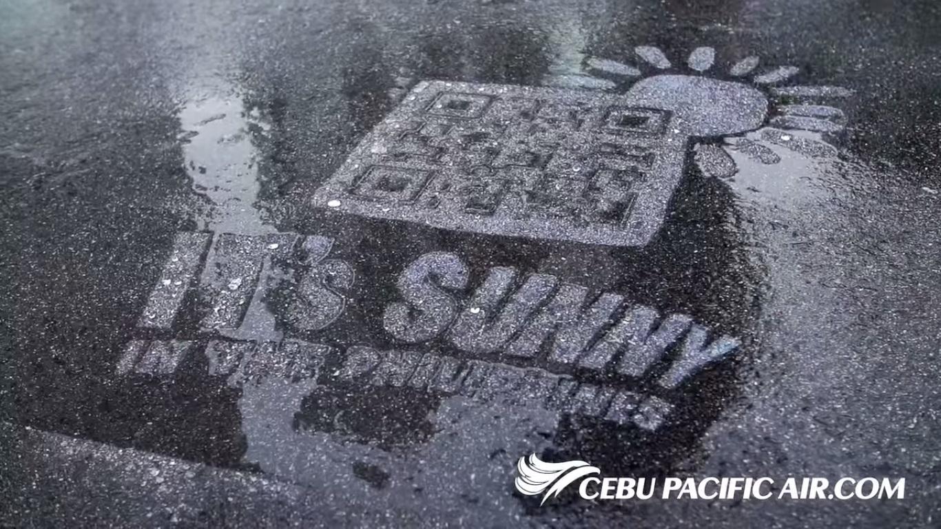 雨天才有宣傳效果!?宿霧太平洋航空的防水QR Code奇招,激勵你優惠遊菲律賓!