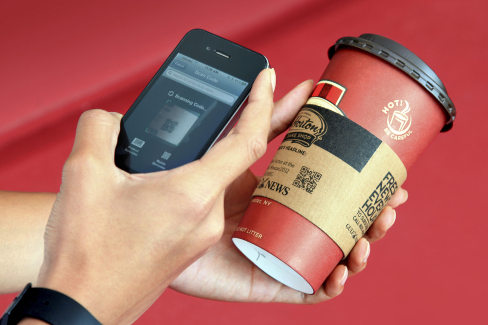 Gulf News Cup Headline News Cup Sleeve - QR Code Scanner