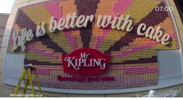 Mr Kipling's logo made out of cakes