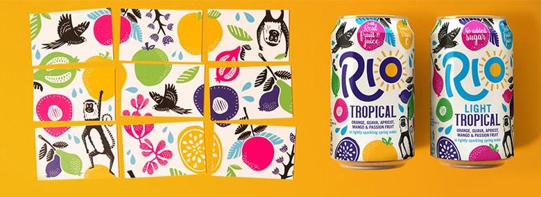 英国气泡果汁饮料品牌Rio全新的LOGO和包装