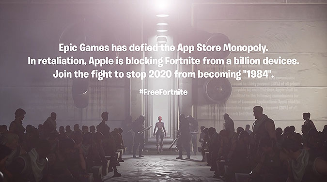 堡垒之夜游戏模仿苹果1984广告讽刺苹果垄断