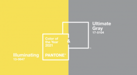Pantone 發布年度雙流行色:亮麗黃和極致灰