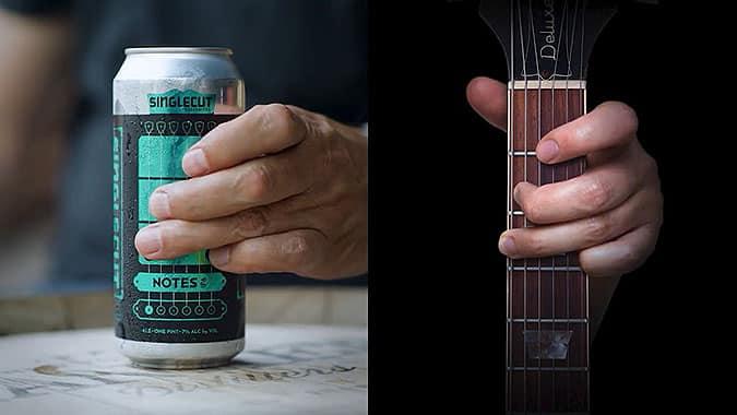 加拿大啤酒品牌SingleCut創意吉他啤酒罐