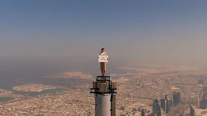 阿聯酋航空疫情后創意世界之巔宣傳